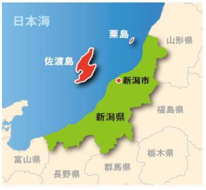 新潟県の地図:粟島の位置