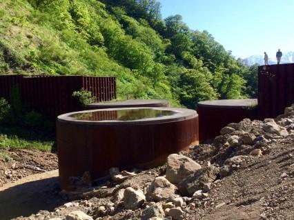 土谷川鋼製セル堰堤(長野県小谷村)